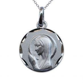 Médaille de baptême Vierge Marie en prière en argent massif