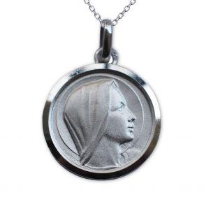 Médaille en Argent Massif de la Vierge Marie personnalisée