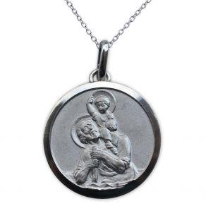 Médaille de baptême Saint Christophe en argent massif personnalisée