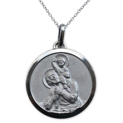 Médaille de Baptême St Christophe et Jésus