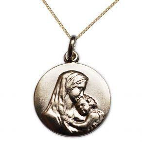 Médaille plaqué or Vierge et Jésus personnalisée