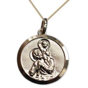 Médaille de baptême Saint Christophe plaquée or personnalisée
