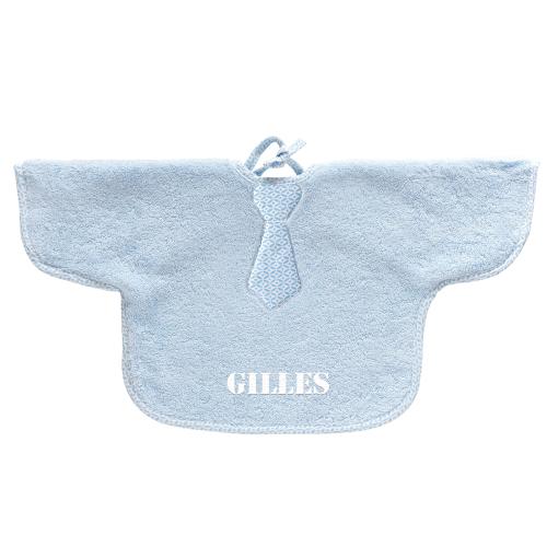 Bavoir manche éponge bébé bleu