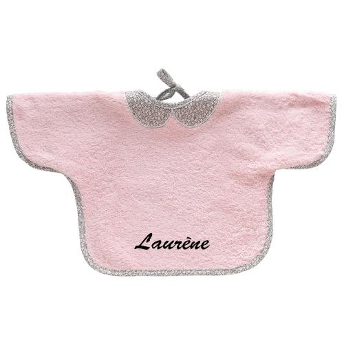 Bavoir manche éponge bébé rose