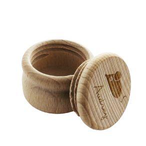 Boite à dents ronde en bois personnalisée