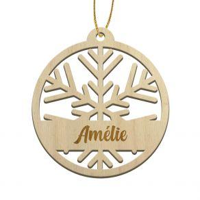 Boule de Noël en bois Flocon de neige découpé personnalisée au prénom