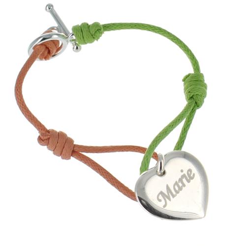 Bracelet gravé cordon bicolore