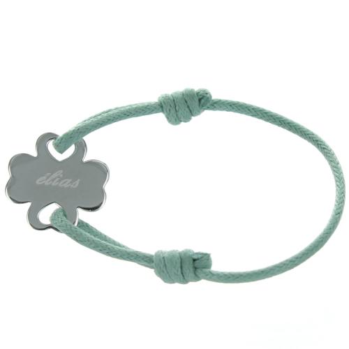 Bracelet trèfle en argent gravé