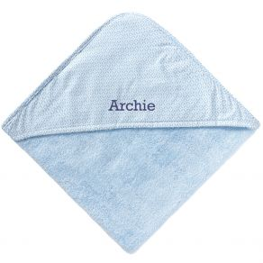Cape de bain bleu personnalisée prénom