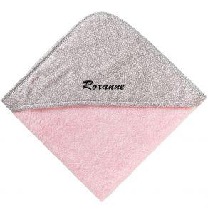 Cape de bain rose brodée prénom