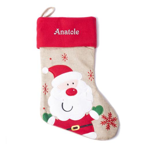 Chaussette de noël brodée prénom effet lin et feutrine Père Noël