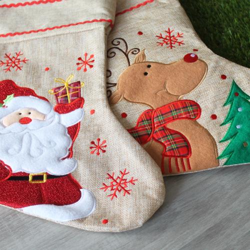 Chaussette de Noël en lin brodée
