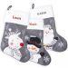 chaussette de noël feutrine grise personnalisée prénom