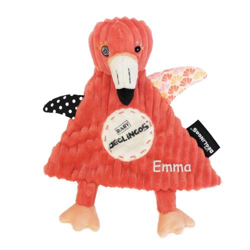 Doudou Bébé Flamingos brodé