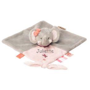 Doudou brodé éléphante rose
