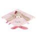 Doudou brodé lapin rose