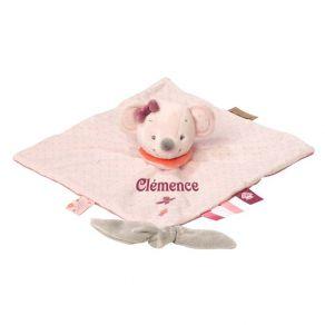 Doudou brodé souris rose