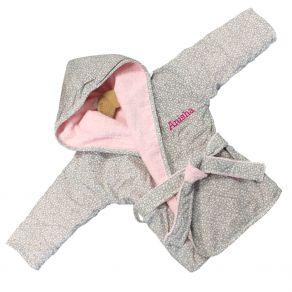 Peignoir bébé rose personnalisé