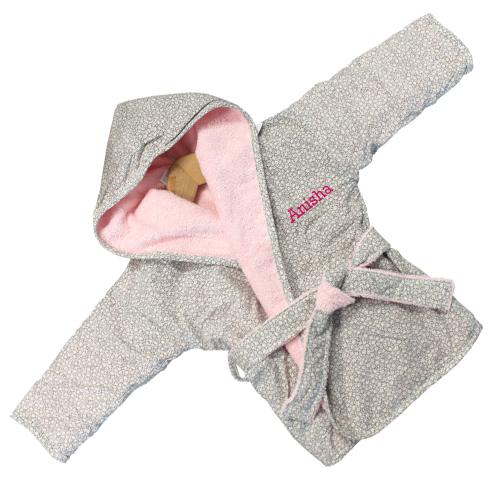 Eponge bébé peignoir rose brodé