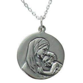 Médaille de baptême Vierge à l'Enfant gravée