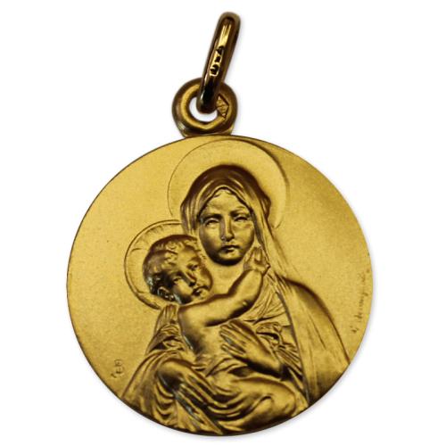 Médaille en or jaune vierge à l'enfant
