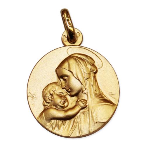 Médaille de baptême vierge massive en or