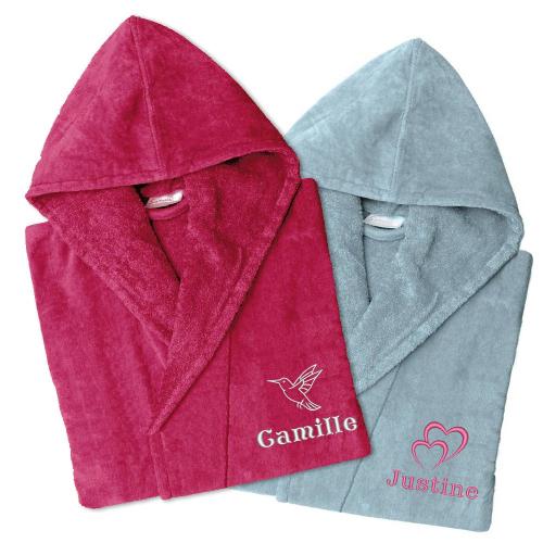 Peignoirs en velours personnalisés (rose et gris)