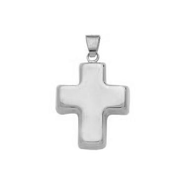 Pendentif croix en or gris 750