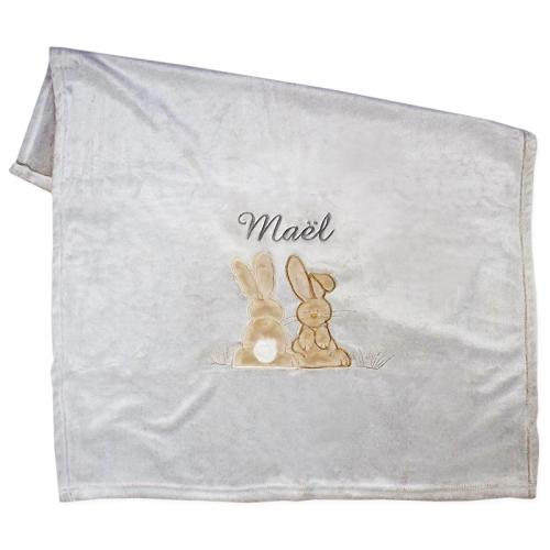 Couverture polaire lapin brodée