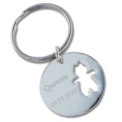 Porte-clés chérubin ajouré garçon