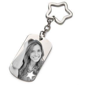 Porte-clés étoile photo gravé