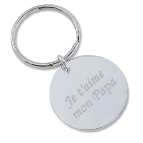 Porte-clés rond gravé