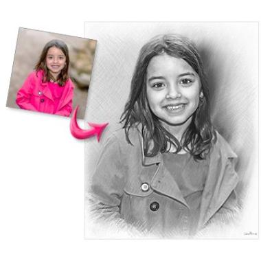Portrait d'enfant style fusain