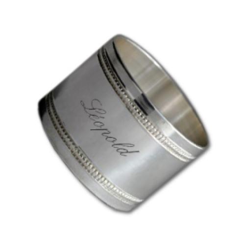 Rond de serviette perle uni en métal argenté
