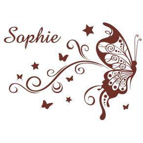 Stickers bébé prénom papillon