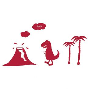 Stickers enfant dino et volcan