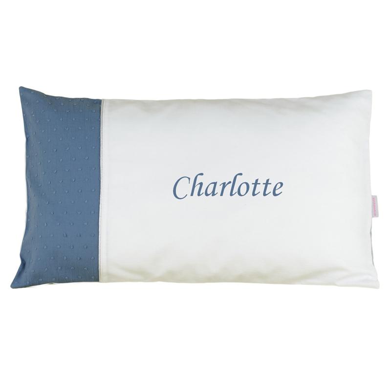 joli cadeau id e cadeau naissance coussin brod blanc et bleu. Black Bedroom Furniture Sets. Home Design Ideas