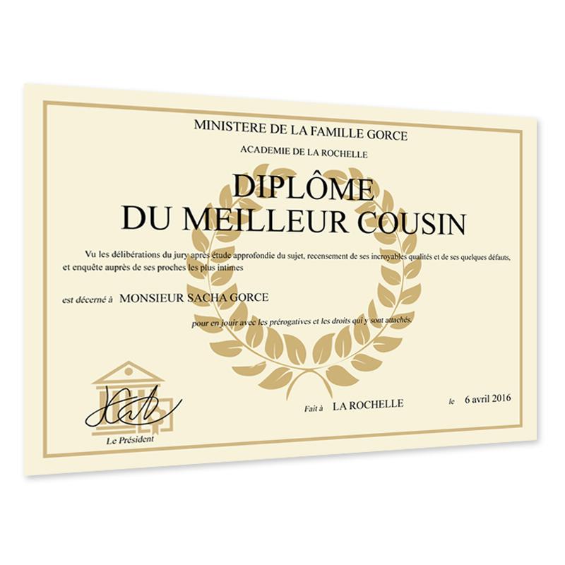 Joli cadeau id e cadeau naissance dipl me original et personnalis - Diplome de cuisine a imprimer ...